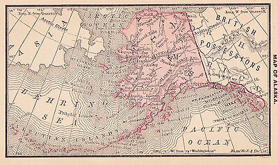 1887 Antique Map of Alaska  (Original)