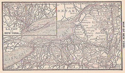1887 Antique Map of New York State (Original)