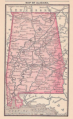 1887 Antique Map of Alabama (Original)
