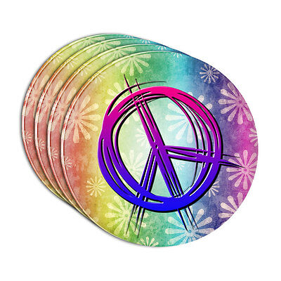 Hippie Peace Signs and Flowers Acrylic Coaster Set of 4