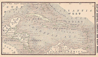 1887 Antique Map of Central America and the Caribbean (Original)
