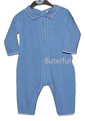 Baby Boys Blue Knitted Cotton Cable Romper 3-6 Month