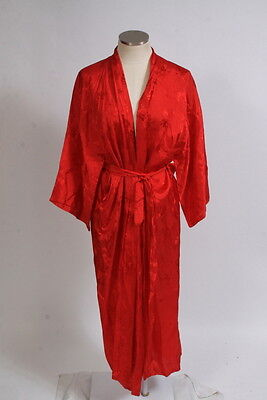 Vtg 70s Red Oriental Retro Embroidered Floral Silky Maxi Belted Robe Jacket M