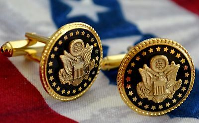 Great Seal Of The Usa Black & Gold-Plated Cufflinks~Black Velvet Gift Boxed
