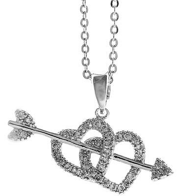 16'' Rhodium Plated Necklace w/ Cupid's Arrow Double Heart & Crystals by Matashi