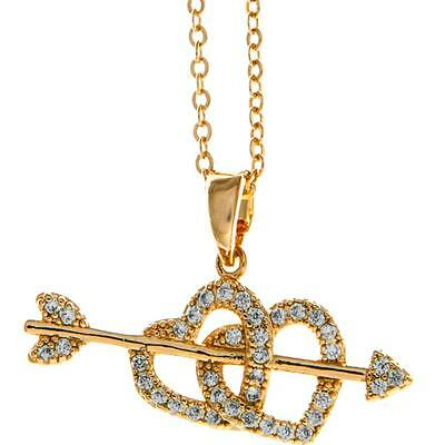 16'' Rose Gold Necklace w/ Cupid's Arrow Double Heart & Crystals by Matashi