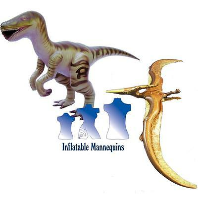 Inflatable Velociraptor and Pteranodon