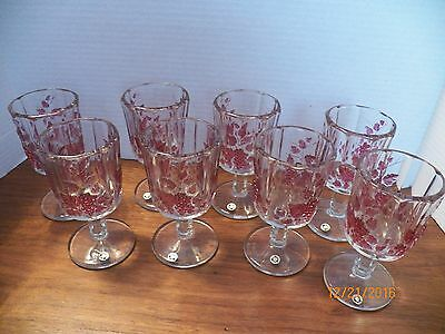 "(8) Westmoreland Clear Glass Tumblers -- With Painted Grapes-6"" Tall"