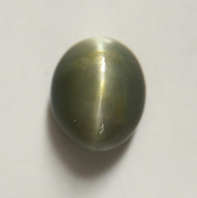 4.35 ct Natural Quartz Cats Eye Greyish Green Excellent Silver Ray Oval Shaped