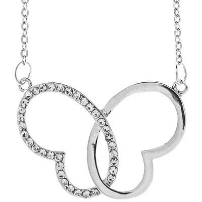 16'' Rhodium Plated Necklace w/ Intertwined Heart Butterfly & Crystals by Matash