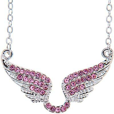 16'' Rhodium Plated Necklace w/ Angel Wings & Quality Pink Crystals by Matashi