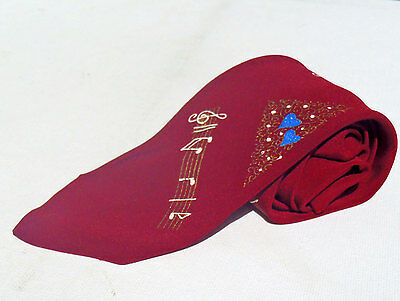 Vintage 1960s Skinny Hand Painted Red Tie with Musical Pattern