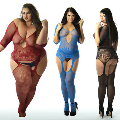 UK 6-24 Fishnet Erotic Sleeved Body Stocking Tights PLUS+ SIZE Nighties Lingerie