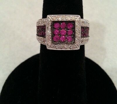 Stunning 14K Solid White Gold Ruby and Diamond Ring Size 6