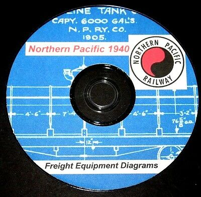Northern Pacific Railroad 1940 Freight Equipment Diagrams & Data PDF Pages  DVD