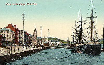 VIEW ON THE QUAY WATERFORD IRELAND VALENTINES IRISH POSTCARD No. 35539