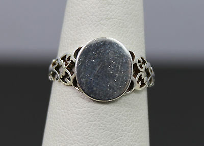 Sterling Silver Antique Style Pierced Ring with Oval ID Plate Size 6.75