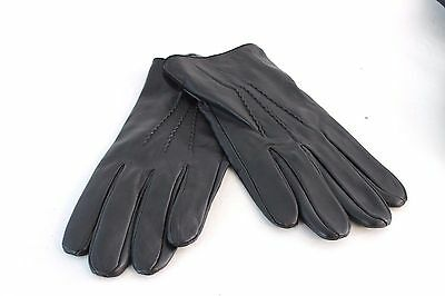 Amicale Men's Black Leather Gloves
