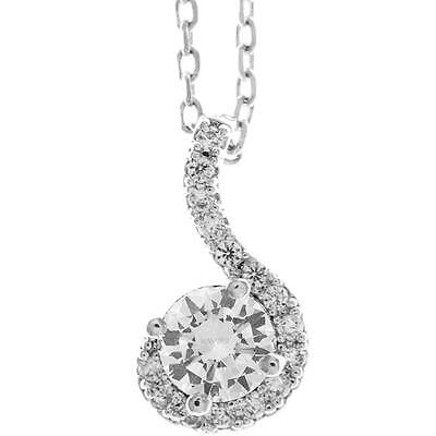 16'' 18K White Gold Plated Necklace w/ Spiral & Clear Crystals by Matashi