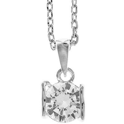 16'' 18K White Gold Plated Necklace w/ Heart & Clear Crystals by Matashi
