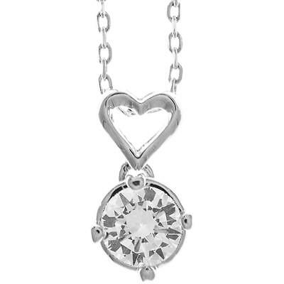 16'' 18K White Gold Plated Necklace w/ Heart Design & Clear Crystals by Matashi