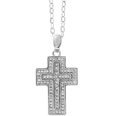 16'' 18K White Gold Plated Necklace w/ Cross Design & Clear Crystals by Matashi