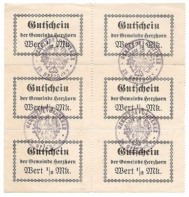 Austria (Notgeld) Herzhorn 19-- 1/2 Mark Sheet of 6 UNC Notes [1766.0433a]