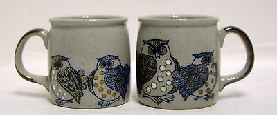 Vintage Pottery Owl Coffee Mugs Cups 2 Stoneware Ceramic Gray and Brown