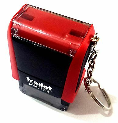 Trodat Printy 4910 with KeyRing Rubber Text & Logo Stamp 25x9mm (up to 2lines )