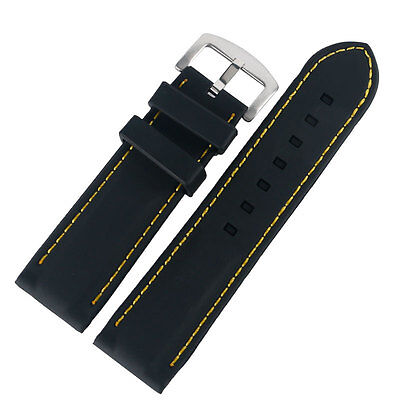 20/22/24/26mm Black Silicone Watch Band Rubber Mens Wrist Strap Waterproof Gift