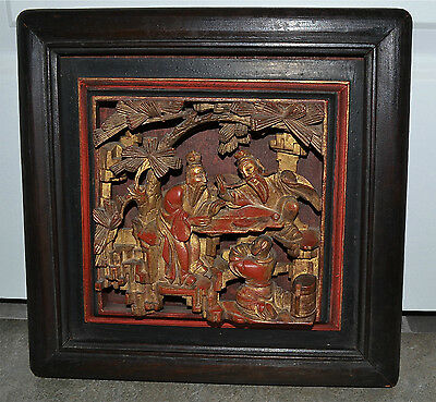 Antique Chinese Deeply Carved Lacquered Gilted Panel Scholars Figures Wood Frame