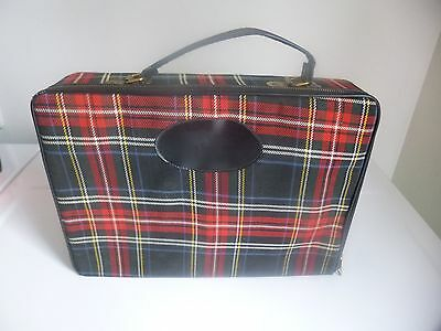 Vintage 1960's Traveling Bar Set in Plaid Case