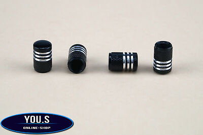 4 Pcs Black with Silver rings aluminium valve caps for cars car truck motorcycle