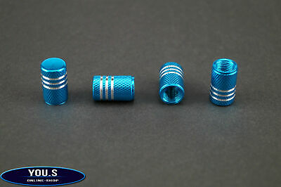 4 Pcs Turquoise with Silver rings aluminium valve caps for cars - a feast