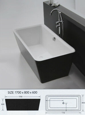 1700*800*600mm Black and White Acrylic Modern Square Free Standing Bathtub