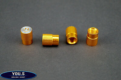 4 Pcs Smiley Valve caps in Gold for cars trucks Motorcycle - NEW
