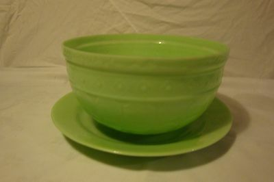 Jadite Mixing Vegetable Bowl And Serving Or Chop Plate