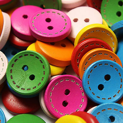 HOUK 100 Pcs Mixed 2 Holes White Round Pattern Wood Buttons Sewing 15mm