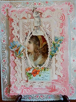 "9"" Art Nouveau Angel 1891 Paper Lace Pop Up 3D Victorian Valentine Greeting Card"