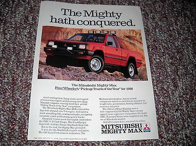 "1990 Mitsubishi Might Max 4x4 Pickup Ad Advertisement 8""x10.5"" Poster"