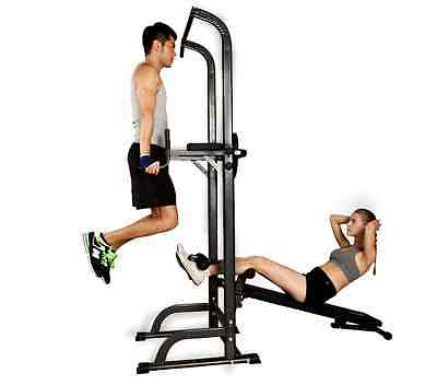 Fitness Power Tower Abs Chin Dip Pull Push Up Knee Raise Bench Home Gym Exercise