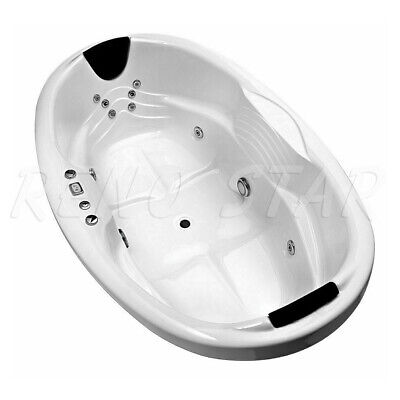 1800*1180*500mm Luxury SPA HOT PUMP 16 CHROME JETS DROP IN OVAL BATH TUB