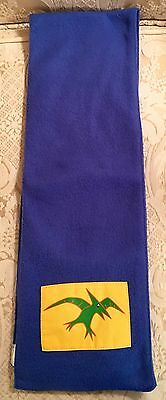 Boys Blue Fleece Scarf With A Picture Of A Pterodactyl Dinosaur Size 4-7