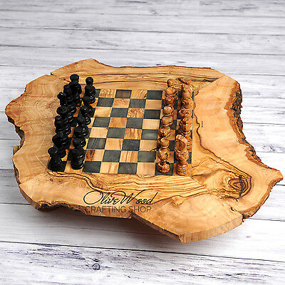 SALE !! Handmade Rustic Olive Wood Large Chess Board Wooden Handcrafted Wooden