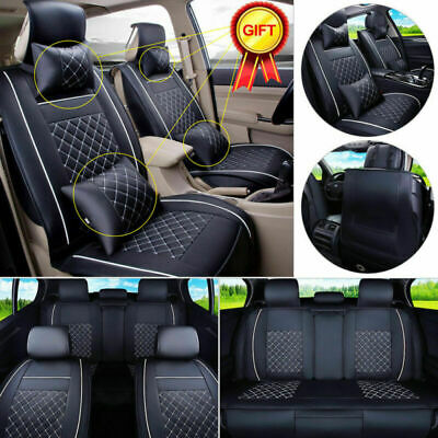 Auto 5-Seats Car Seat Cover PU Leather Front & Rear W/Neck Lumbar Pillows Size S