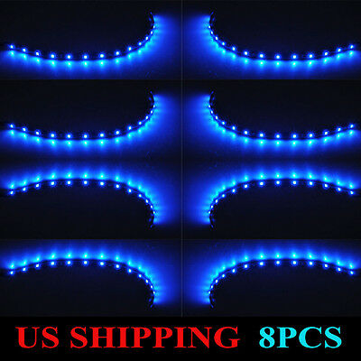 8x 15 LED 30cm 1210 Car Motor Vehicle Flexible 3528 Waterproof Strip Light Blue