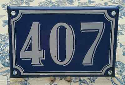 Vintage French Industrial Traditional Blue & White Enamel Door House Number 407