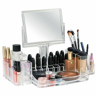 Cosmetic Display Makeup Case Acrylic Organizer w/ Two-Sided Magnification Mirror
