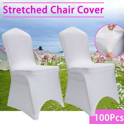 100X White Chair Cover Spandex Lycra Banquet Wedding Party Decor Arched Front