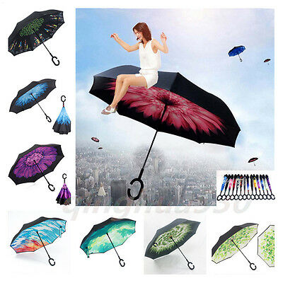 Windproof C-Handle Big Double Layer Upside Down Inverted Umbrella Reverse Design